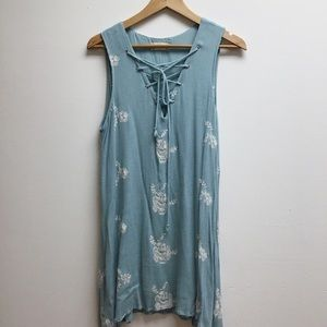 Altard State large blue/white tie front tank dress